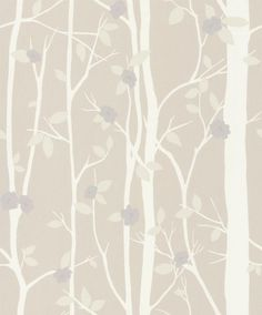 Cottonwood Natural (3486836) - Laura Ashley Wallpapers - An enchanting print of cream trees and branches with dark cream leaves and dust purple flowers. Please request sample for true colour match.