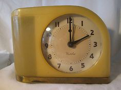 "Vintage Art Deco Westclox S5 J Red Dot Butterscotch ""Moonbeam"" Alarm Clock | eBay"