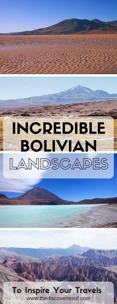 Five Incredible Bolivia Landscapes You Shouldn't Miss Bolivia Travel Inspiration and Guide. Amazing landscapes in Bolivia you shouldn't miss while in South America South America Destinations, South America Travel, Travel Destinations, Ecuador, Machu Picchu, Costa Rica, Cool Places To Visit, Places To Go, Bolivia Travel