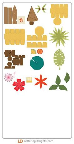 Makana - CP - Included Items - Page 1 Moana Crafts, Moana Party, Moana Birthday, Ideas Para Fiestas, Diy Box, Luau, Kids And Parenting, Paper Cutting, Stencil