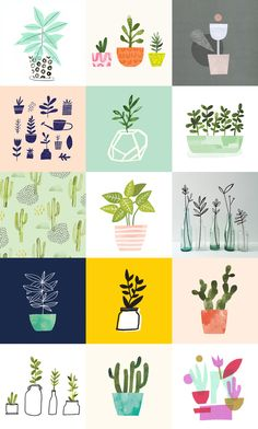 100 Days of Plants — Jen B. Interesting idea of doing something for 100 days. Art And Illustration, Pattern Illustration, Graphic Design Illustration, Botanical Illustration, Plant Art, Belle Photo, Illustrators, Print Patterns, Art Drawings