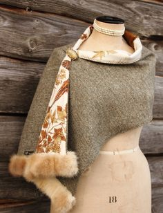 Lovat Harris Tweed & Vintage Mink Luxury Stole/Wrap