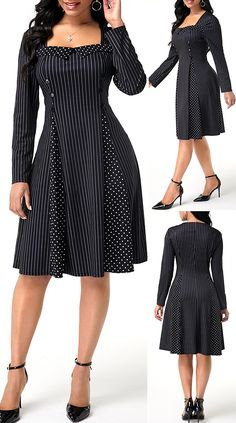 sale shopping Long Sleeve Vertical Stripe Polka Do - sale Pretty Dresses, Sexy Dresses, Beautiful Dresses, Casual Dresses, African Dresses For Women, African Fashion Dresses, Indian Dresses, Cute Dress Outfits, Club Party Dresses