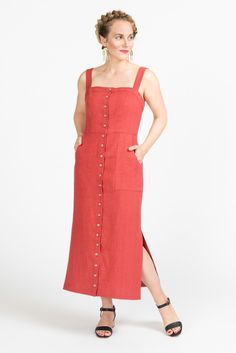 Fiona Sundress Pattern // Button-up midi length summer dress pattern // Closet Case Patterns