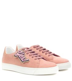 Anya Hindmarch - Embellished suede sneakers - Refresh your sneaker edit with this ultra-chic pair from Anya Hindmarch. Crafted in Italy from smooth suede, this style comes in a powder-pink hue and features the label's signature winking smiley at each heel. Showcase yours with a pair of cropped trousers. seen @ www.mytheresa.com