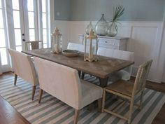 sets of dining benches - phoebe howard. Beach Kitchens, Home Kitchens, 10 Person Dining Table, Dining Area, Kitchen Dining, Settee Dining, George House, White Sideboard, Beautiful Dining Rooms