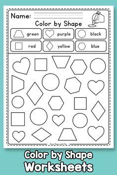 Color by Shape Worksheets – Easy Peasy and Fun Membership Kindergarten Journals, Kindergarten Homework, Kindergarten Morning Work, Kindergarten Colors, Preschool Colors, Kindergarten Crafts, Shape Worksheets For Preschool, Shapes Worksheet Kindergarten, Shapes Worksheets