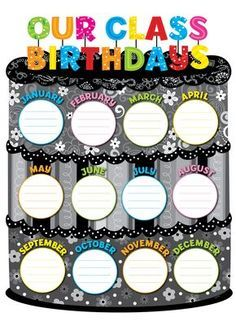 Creative Teaching Press BW Collection Our Class Birthdays Chart Birthday Chart Classroom, Birthday Bulletin Boards, Classroom Charts, Birthday Charts, Classroom Posters, Classroom Displays, Classroom Decor, Birthday Chart Images, Classroom Incentives
