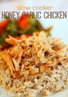 Slow Cooker Honey Garlic Chicken Recipe - Six Sisters Stuff