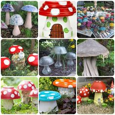 20 Garden Creative Mushroom Projects These Garden Creative Mushroom Projects are fun and easy. They will impress guests and make you smile every time you walk into your yard Clay Pot Projects, Diy Garden Projects, Garden Crafts, Diy Garden Decor, Mushroom Crafts, Mushroom Decor, Flower Pot Crafts, Flower Pots, Garden Mushrooms
