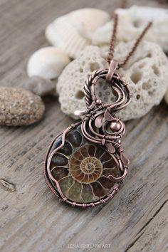 Wire wrap necklaceWire wrapped jewelry Copper by LenaSinelnikArt