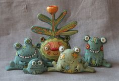 Ceramic Monsters, Clay Monsters, Polymer Clay Projects, Clay Crafts, Paper Clay, Clay Art, Soft Sculpture, Sculptures, Brick Crafts
