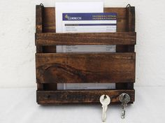 Rustic Wooden Mail Organizer Mail and Key Rack by RegalosRusticos
