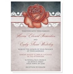 {OLD & NEW} sharing: Do you like the design on these Rustic Country Rose Blue Wedding Invitations? Are you inspired? What occasions do you have coming up?  | Country-inspired Wedding Invitations and optional matching RSVP reply cards, designed with an eclectic mix of rustic, vintage, and modern elements. They feature a stylized artistic red rose at the top over a band lined with white damask florals. The background is designed with a dark navy blue canvas texture illustration and a beige…