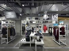 Adidas concept store - Berlin.  Nice use of a single colour to unite miscellaneous furniture elements.
