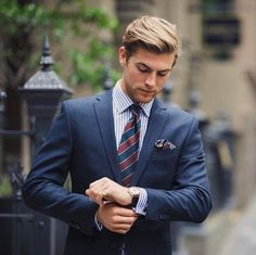 Follow our board for daily style inspiration! Mens suite style wearing blue blonde hair mens gromming