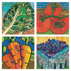 Thinking of tweaking this project for the kids for Sukkot.Mosaic (grades - Impressive Gallery of Work.done on kraft paper with black drawing and filled in with left over paint chips (Fresh Artists - Hancock school? Art Lessons For Kids, Art Lessons Elementary, Art For Kids, Paper Mosaic, Mosaic Art, Paint Chip Art, Paint Chips, 6th Grade Art, Ecole Art