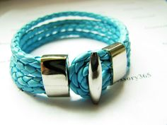 light blue Leather  Woven with Metal Buckle Women Leather Jewelry Bangle Cuff Bracelet, Girl Leather Bracelet  407A. $6.00, via Etsy.