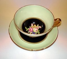 Handpainted Black Floral Tea Cup and Saucer