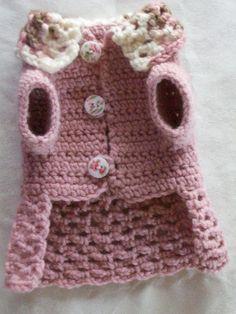 Crocheted Pet Dog Cat Clothes Apparel Sweater Dress Coat XXS Soft Rose Pink   eBay