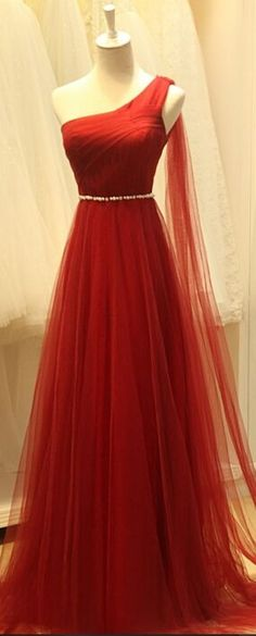 One Shoulder Prom Dresses, Real Beauty Simple Red Long Prom Dresses,One Shoulder Evening Dresses ,Prom Dress,Prom Gowns,Modest Party Dresses