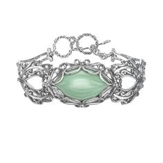 Carolyn Pollack Variscite Openwork Toggle Bracelet in Sterling Silver