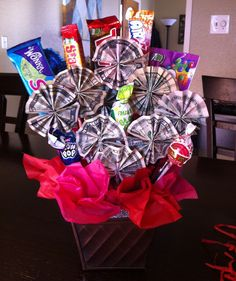 Money/candy bouquet... I made this for my niece as a gift for her 8th grade graduation :)