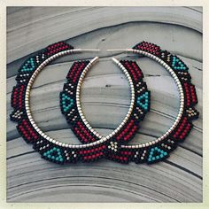 Beaded earrings hoops
