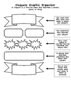 How to Write a Cinquain Poem - Graphic Organizer....for classical school writing assignment this week.