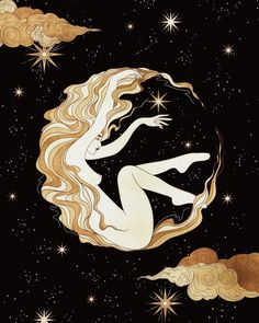 Lady Luna floating in space, spreading magic and stardust. Basically how I imagine myself after harnessing all the moon power and… Art And Illustration, Illustrations, Kunst Inspo, Art Inspo, Fantasy Kunst, Fantasy Art, Celtic Cross Tarot, Floating In Space, Photo Images