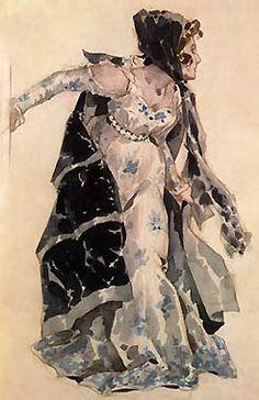 Vintage costume sketch for Tosca. Adolfo Hohenstein