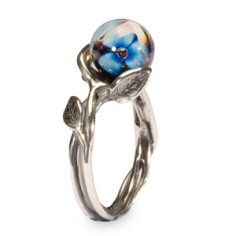 BLUE FLOWER.  Sterling silver/glass Silver stems entwining your finger and supporting three bright blue flowers caught in a drop of dew.