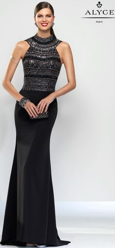 Evening Dresses Ball Dresses by CLAUDINE for ALYCE Paris<BR>aay2573<BR>Beaded bodice with a high neck halter top and a long stretch jersey skirt.