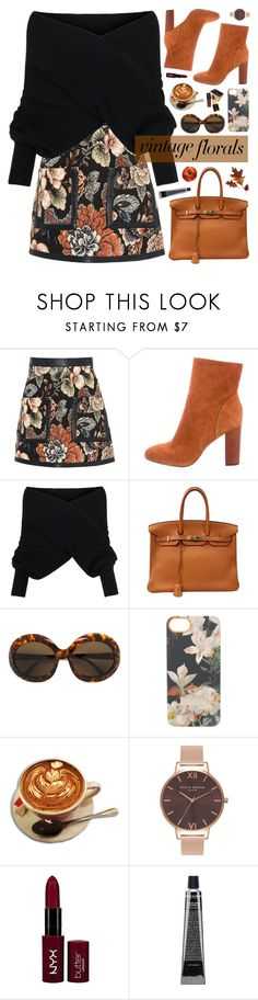 """""""vintage florals for fall no. 4"""" by almost-glamorous ❤ liked on Polyvore featuring STELLA McCARTNEY, 10 Crosby Derek Lam, WithChic, Hermès, Sol-Amor, Ted Baker, Olivia Burton, Tom Ford, NYX and vintage"""