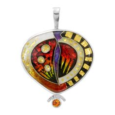 Sterling Silver, Orange Garnet, Enamel Pendant by Ricky Frank Jewelry
