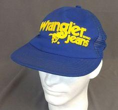 Vintage Wrangler Brand Jeans 80s Blue Trucker Hat Cap Snapback USA Yellow  Horse 3fc54dff9dcc