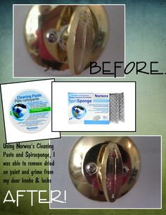 Before and After Cleaning iamge with the Norwex cleaning paste.with no harmful chemicals! Norwex Cleaning, Green Cleaning, Cleaning Hacks, Norwex Biz, Eco Friendly Cleaning Products, Natural Cleaning Products, Norwex Products, Door Knob Lock, Norwex Party