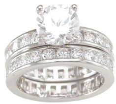Round Brilliant Cut Cubic Zirconia Wedding Ring Set