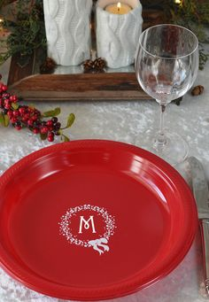 Personalized plastic Christmas plates give your guests something to talk about - and give you more time to spend with them after dinner. No need for a stack of plates two feet tall that need to be washed. Beautiful and saves you from dishes - this might be my favorite holiday party idea yet!