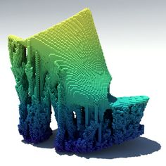 Francis Bitonti creates pixellated 3D-printed shoes using cellular automaton.