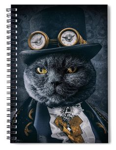 Steampunk Cat, Notebooks For Sale, Thing 1, Art Pages, Tag Art, Portrait Art, My Images, Fine Art America, Digital Art