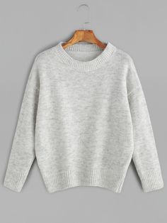 Grey Drop Shoulder Jersey Sweater — 0.00 € ----------------------color: Grey size: one-size