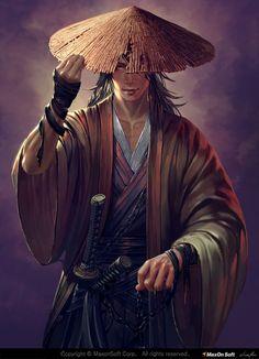Samurai by Donfoo. Fantasy Male, Fantasy Warrior, Fantasy Samurai, Ronin Samurai, Samurai Warrior, Samurai Anime, Dnd Characters, Fantasy Characters, Character Portraits
