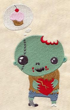 Sweet Zombie Embroidered Flour Sack by EmbroideryEverywhere, $13.99