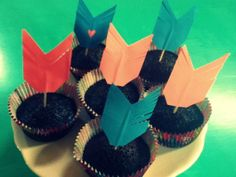 NEON PINK & BLUE arrow cupcake toppers bow and arrow woodland party indian headdress Hunting Party aztec