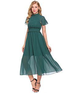 1969d24424 ACEVOG Women s Halter Cap Sleeve Sheer Chiffon Waisted Co... https