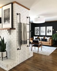 Just fell In love with this space by and have now decided I wanna need another flip house STAT so I can do black walls,… Home Living Room, Living Room Decor, Living Spaces, Bedroom Decor, Lafayette House, Room Of One's Own, Mid Century Modern Living Room, Black Walls, Living Room Inspiration