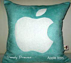 Free US shipping Unique Designer 16x16 Faux Suede Aqua Pillow Cover with  Apple  Icon  Applique. $25.00, via Etsy.