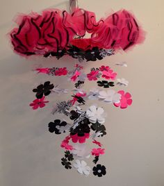 Damask Flower Mobile (Hot Pink White Black) Nursery Decor, Baby Shower Gift, Chandelier, Photo Prop
