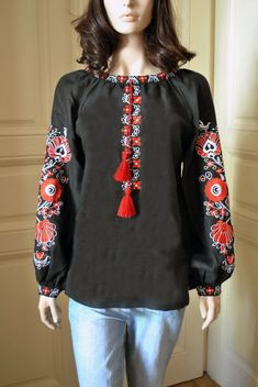 Embroidered blouse with tree of life Linen blouse Ethnic blouse Ukrainian blouse embroidery clothing Vyshyvanka Flower blouse Embroidered Clothes, Embroidered Tunic, Trendy Outfits, Cute Outfits, Linen Blouse, Gypsy Style, Blouse Styles, Designer Dresses, Tunic Tops